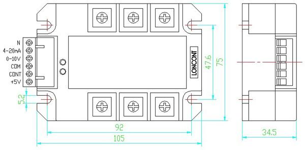 y型模块应用于三相四线制电路接线图